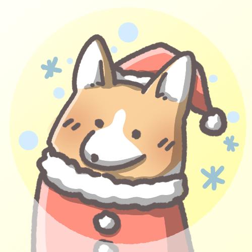 コーギーのフリーアイコン(クリスマスver)