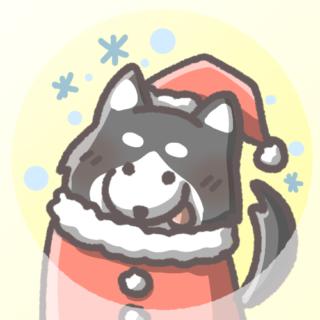 黒柴犬フリーアイコン(クリスマスver)