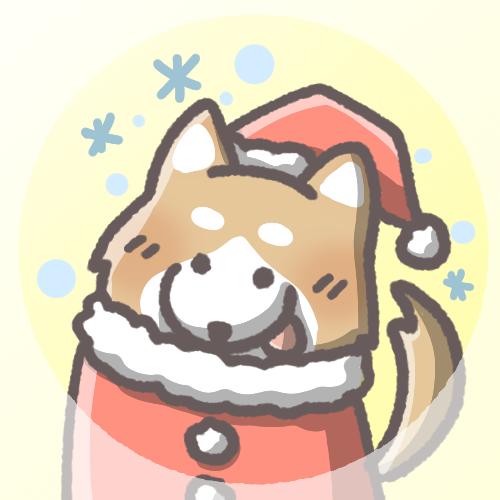 柴犬フリーアイコン(クリスマスver)