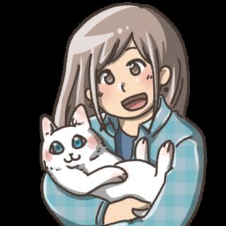猫を抱っこする女のk