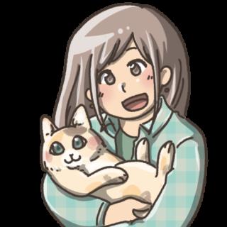 猫を抱っこする女の子
