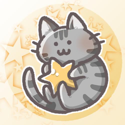 黒猫と星のフリーアイコン