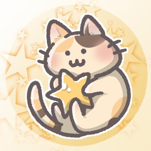 三毛猫と星のフリーアイコン