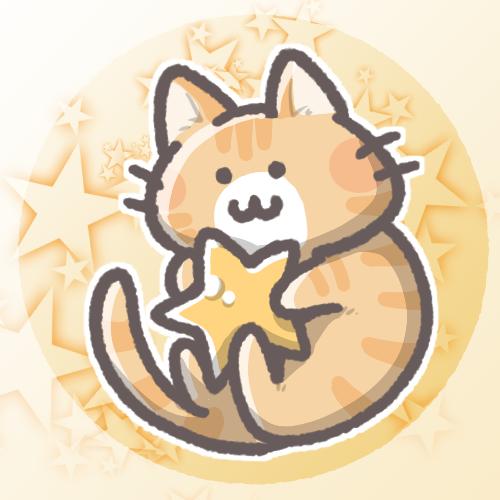 茶トラ猫と星のフリーアイコン