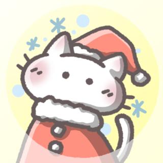 白猫フリーアイコン(クリスマスver)