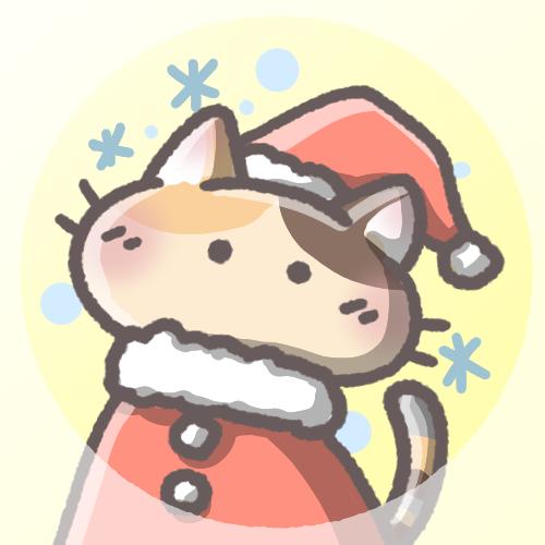 三毛猫フリーアイコン(クリスマスver)