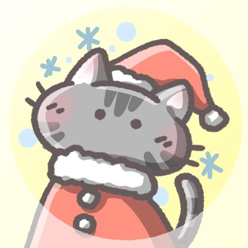 黒猫フリーアイコン(クリスマスver)
