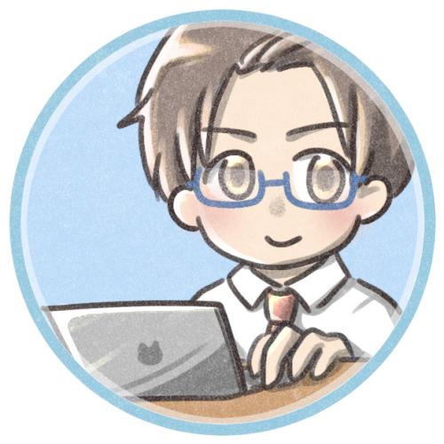 パソコンをする男性のイラスト