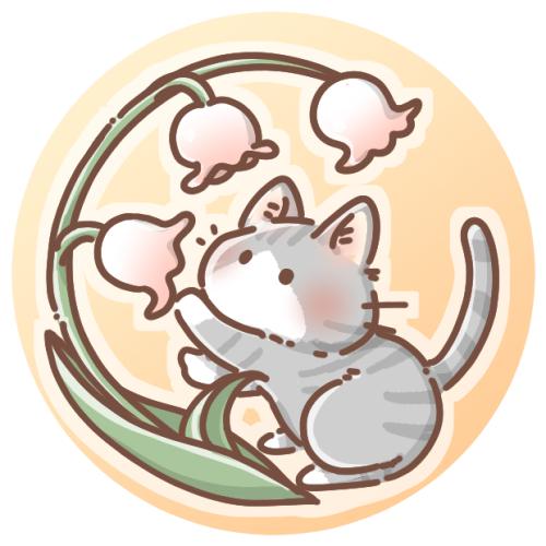 スズランとサバトラ猫のアイコン