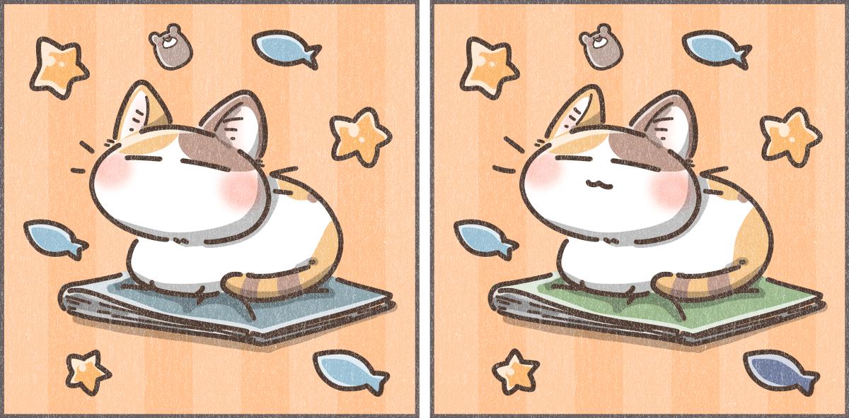 猫の間違い探しイラスト