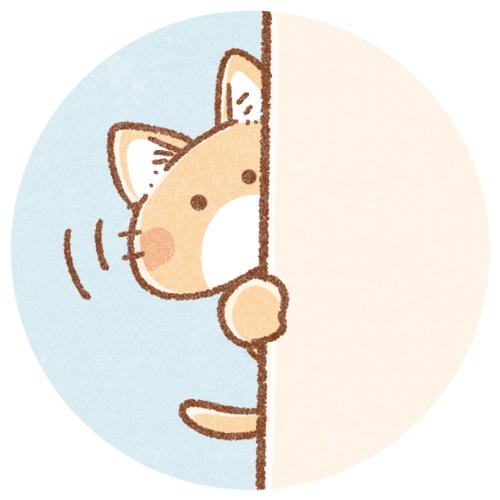 のぞく猫のイラスト