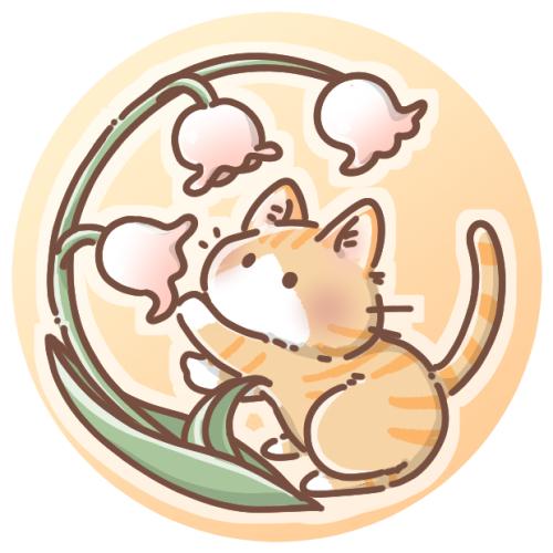 スズランと茶トラ猫のアイコン