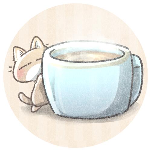 ミルクティーと小さい猫