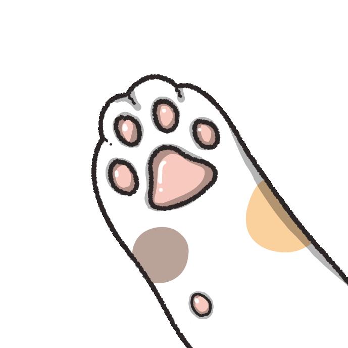 三毛猫の手のイラスト