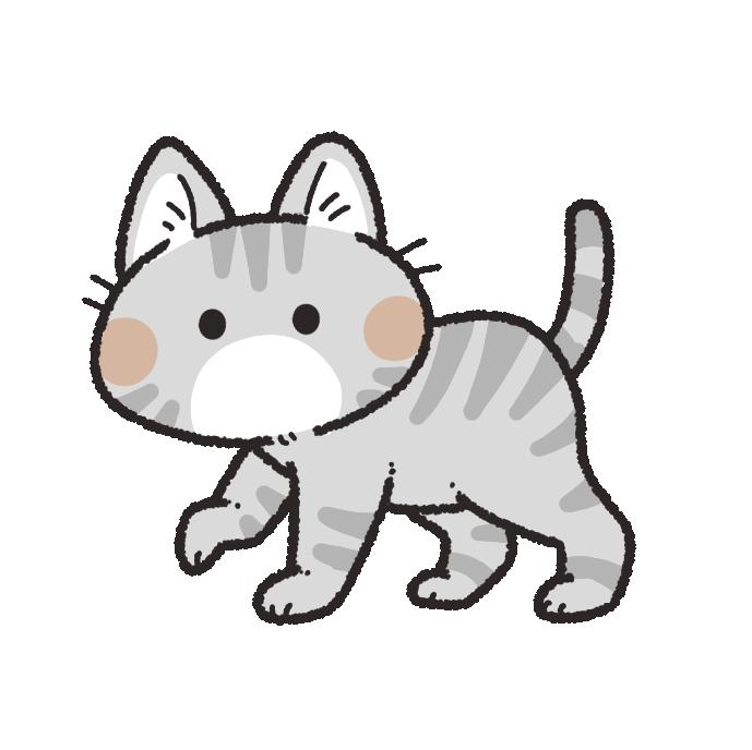 歩くサバトラ猫のイラスト