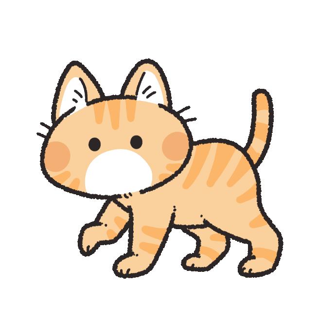 歩くトラ猫のイラスト