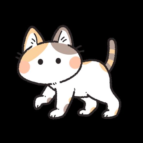 歩く三毛猫のイラスト