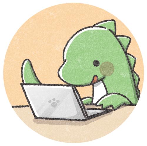 パソコンをする恐竜さん
