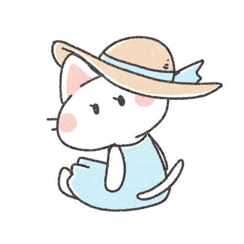 麦わら帽子のにゃんこ