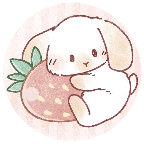 苺を抱っこする兎さん