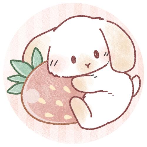 苺を抱っこする兎さんのフリーアイコン