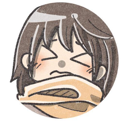 マフラーをした困り顔の女の子