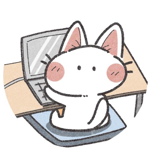 パソコンをする猫のアイコン