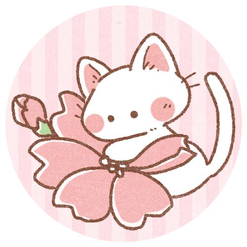 春桜と白猫のフリーアイコン