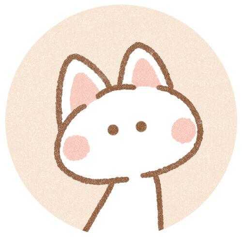 シンプルな白猫アイコン