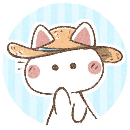 麦わら帽子猫さん