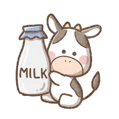 牛乳と牛さん(背景透過)