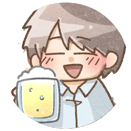 ビールを飲む男の子のイラスト